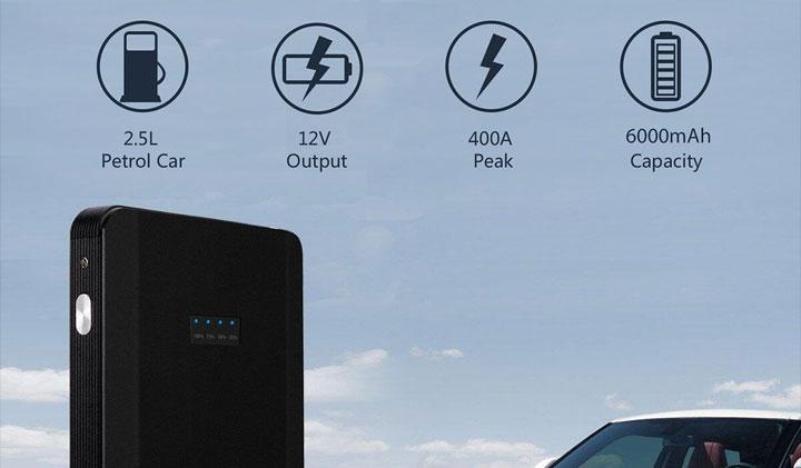 Starter/Power Bank 6000mAh/400A a 20,93€ con codice sconto – Scadenza 13/02/2018