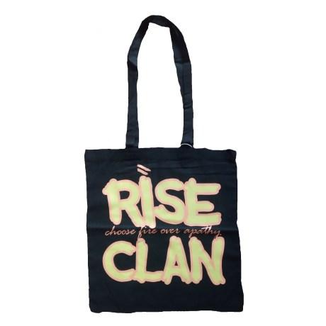 Rise Clan orange yellow tote bag black