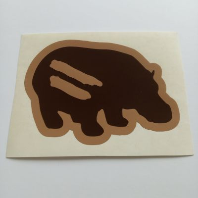 hippo custom cut sticker