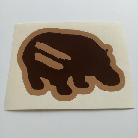 hippo custom cut sticker