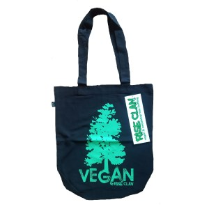 vegan tree tote bag black green