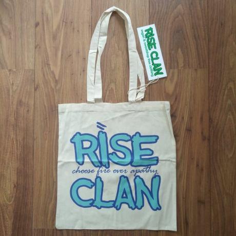 rise clan light blue tote bag