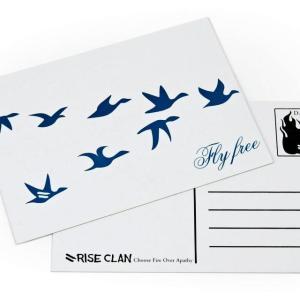 Fly Free postcard
