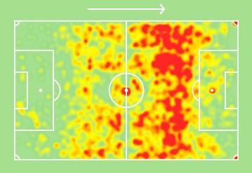 La heatmap dell'ultima stagione di Bruno Fernandes