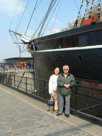 In Greenwich by the Cutty Sark, a famous clipper that plied the oceans to bring home the finest teas from China