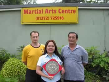 From left - Master Iain Armstrong, Rising Dragon Feng Shui Consultant Angela Ang and the head of Nam Yang Kung Fu Association, Master Tan of Singapore