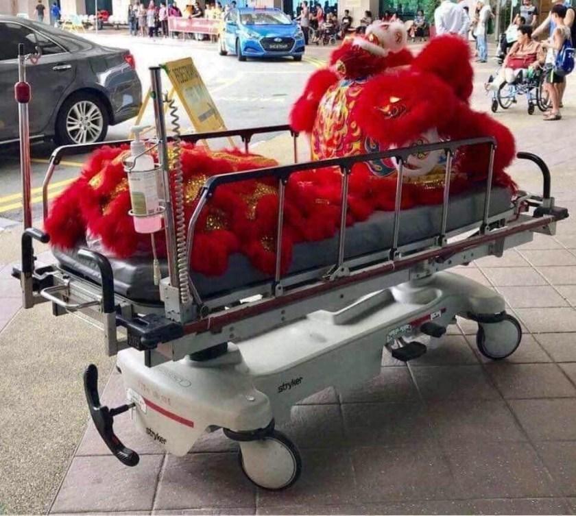 Lion dancer's costume on a hospital stretcher