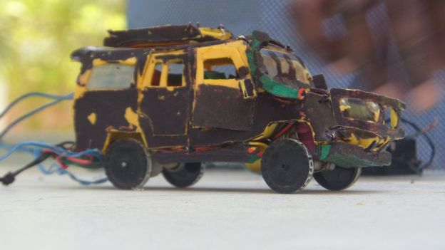 Guled Adan Abdi makes his toys out of discarded objects