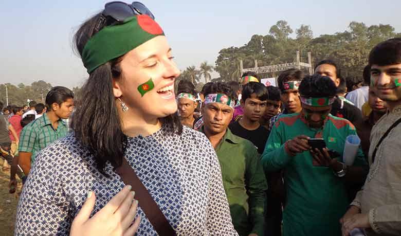 Allison Furlong talking with risingbd.com. Photo: Niaz Mahmud