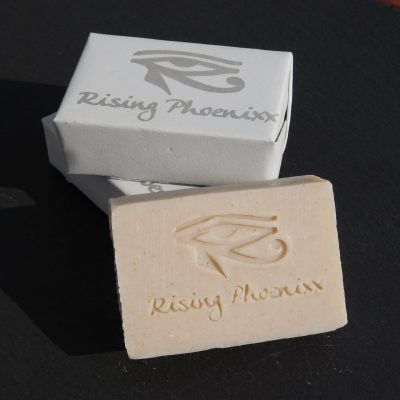 A small stack of Rhassoul Clay bar soaps.