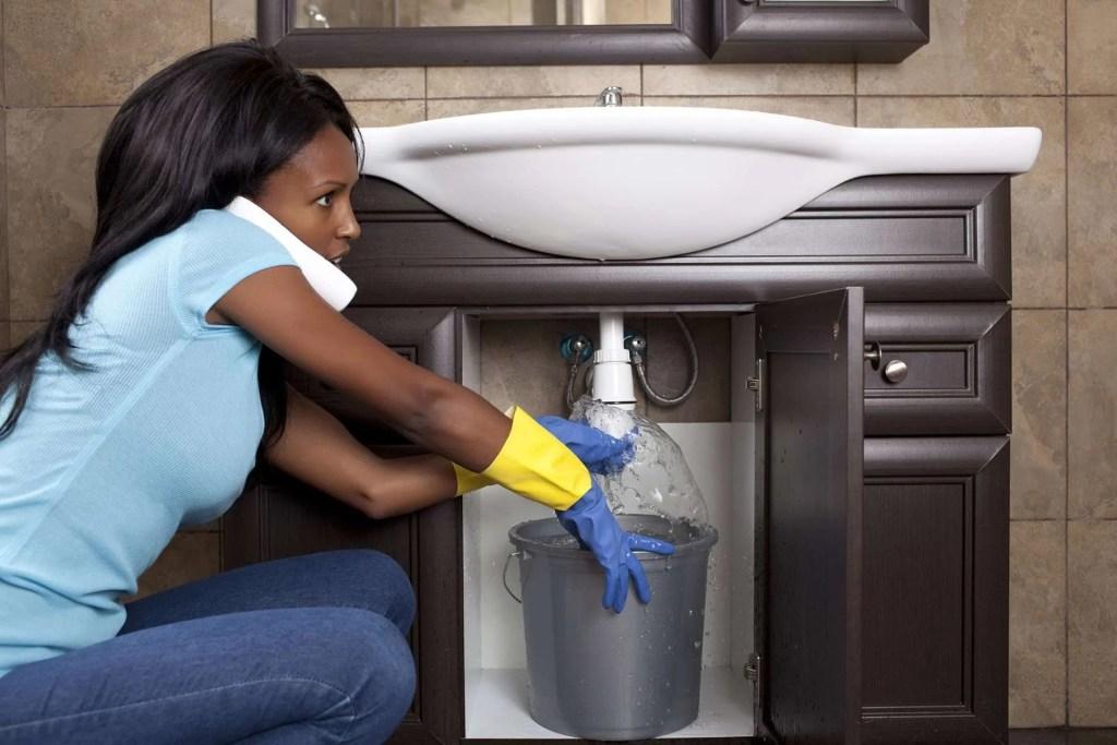 Drain sink pipe blockage.