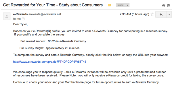 Since I get a lot of invitations, I have a simple system in place to decide whether to spend the time to take a survey. The way E-rewards ...