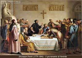 Il giuramento di Pontida, Giuseppe Diotti, 1836.