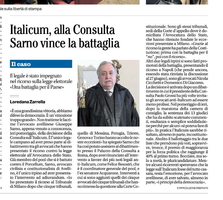 Con Beppe Sarno Risorgimento Socialista contro l'Italicum