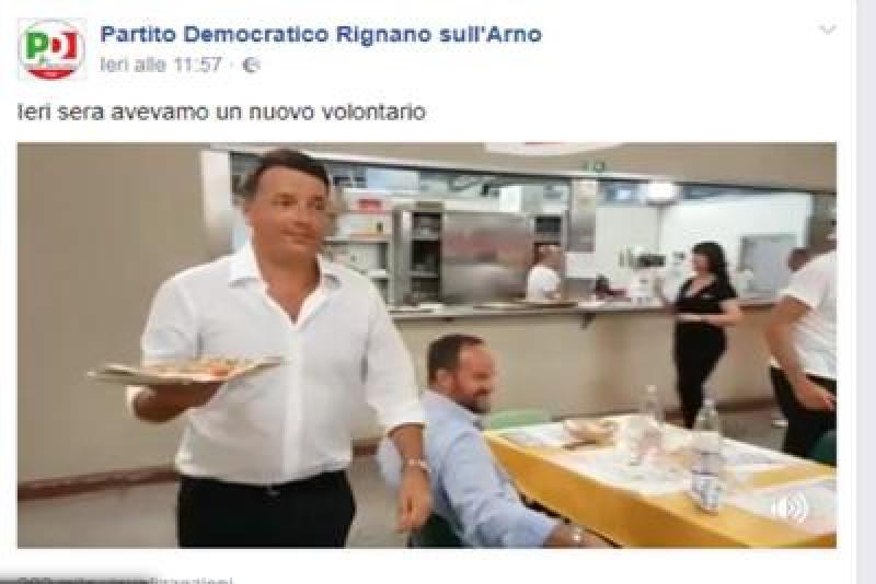 Renzi cameriere festa Unità