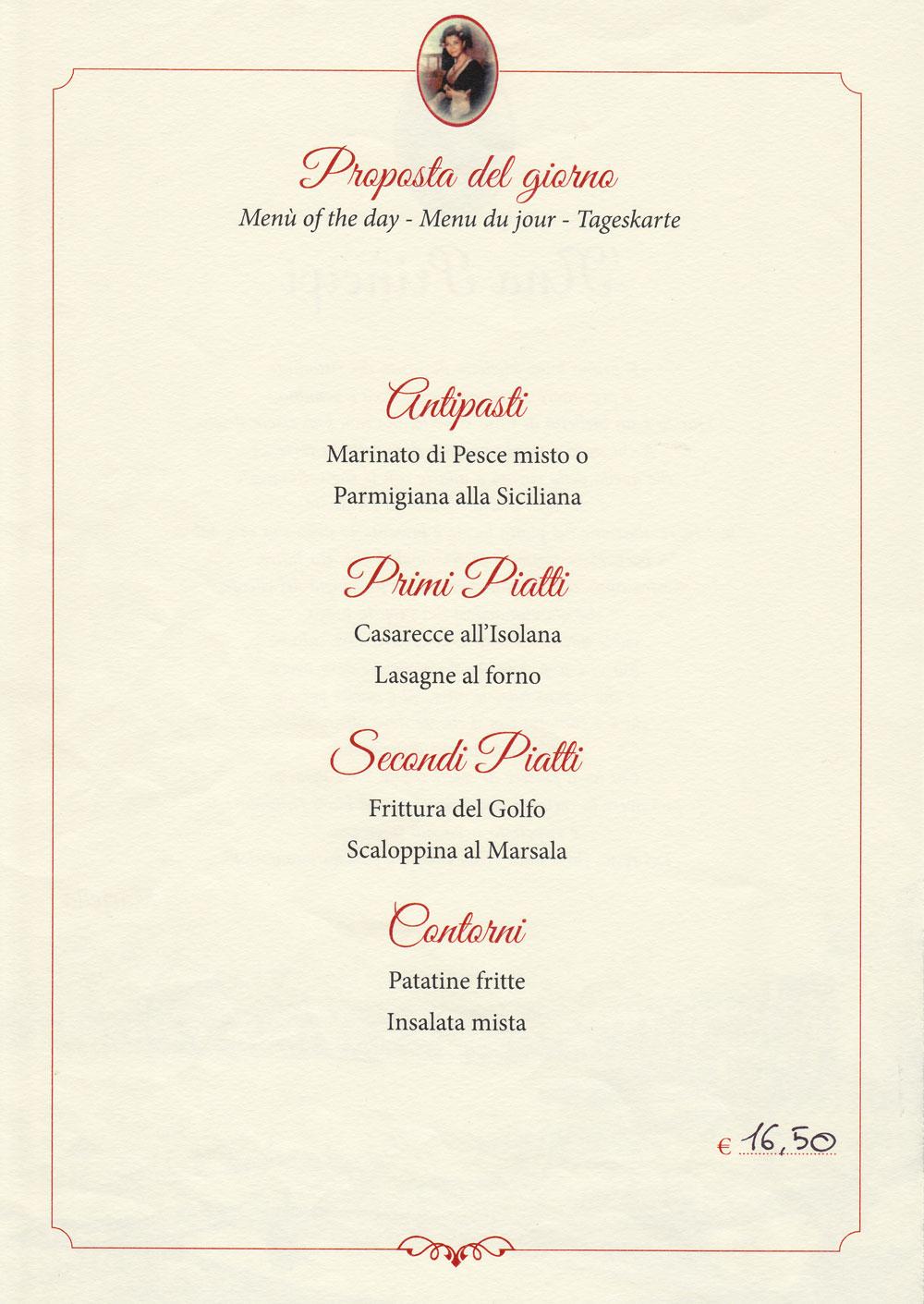 Menù del giorno ristorante 'Nna Prinicipi di Cefalù