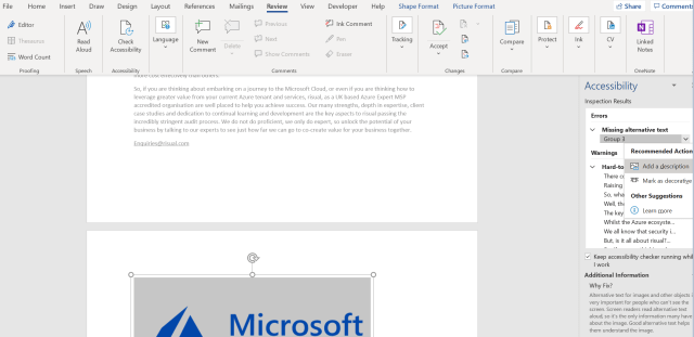 A screenshot of a word document showing the fix of an alt text issue