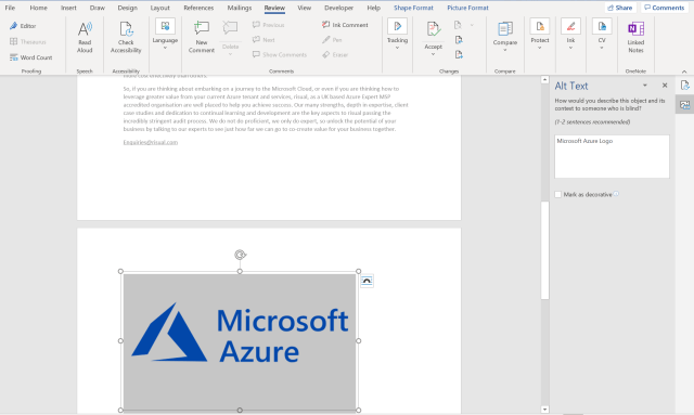 A screenshot of a word document showing new alt text added
