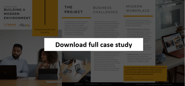 Screenshot of Swindon Council case study PDF document, with a 'click here' action to download and read full case study.