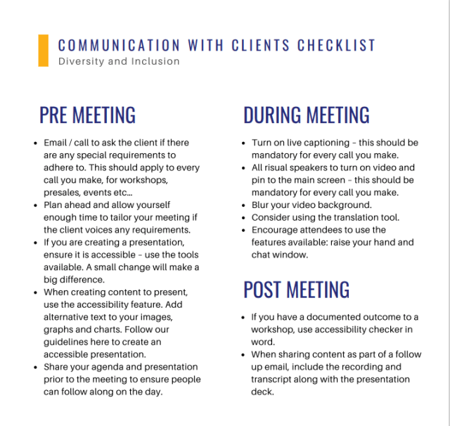 Checklist detailing the steps for inclusive meetings