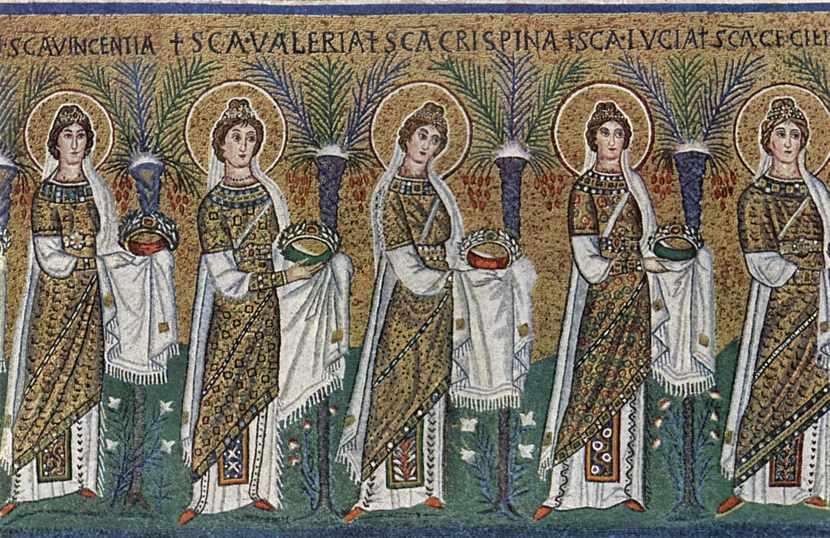 Santa Lucia in un corteo di santi e sante. Ravenna, Sant'Apollinare Nuovo