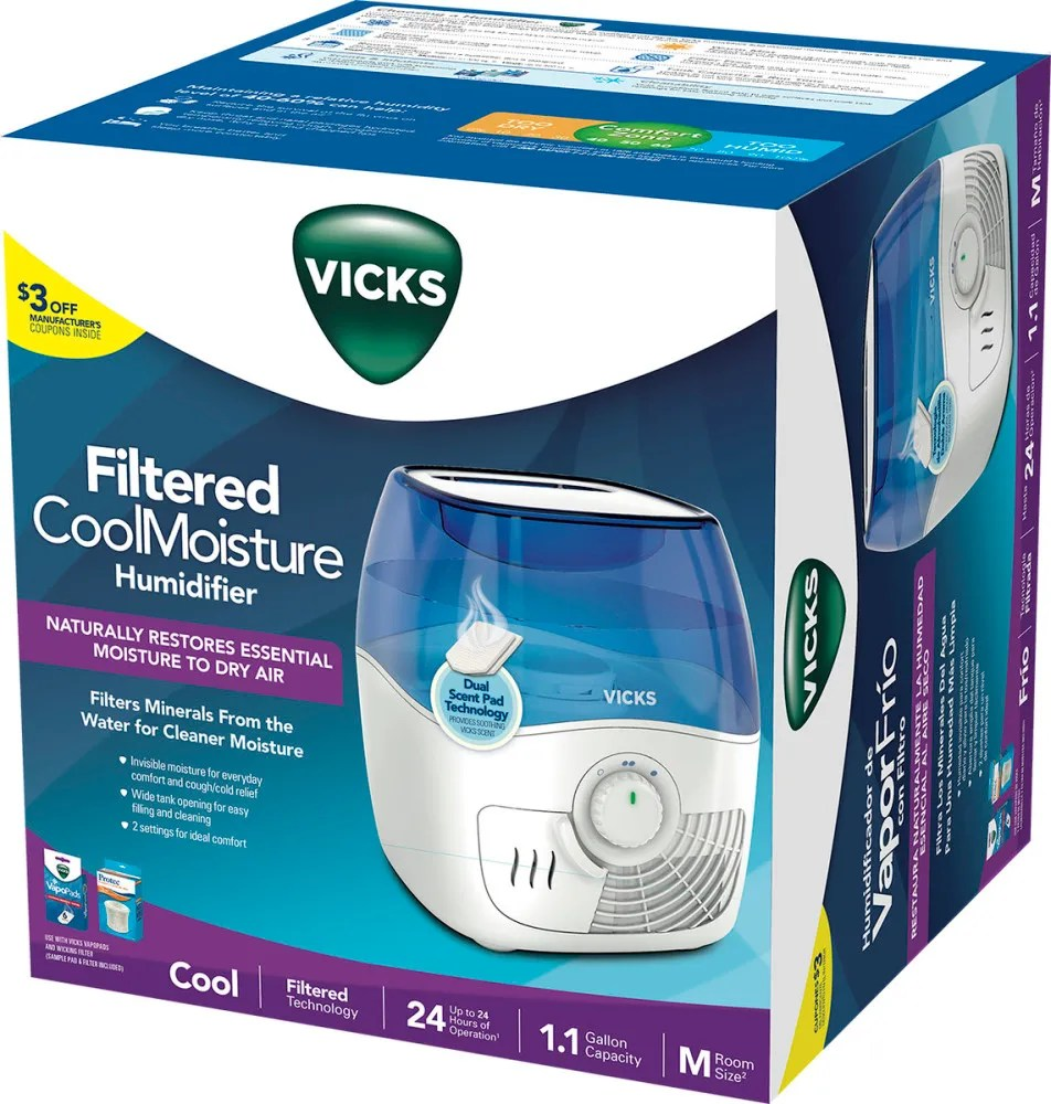 Vicks Filtered Cool Mist Humidifier 1 1 Gallon Capacity