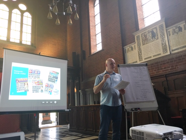 Patrick Gray hosting Dementia Friends Information Session at Golders Green Crematorium in North London. Copyright Rosalie Kuyvenhoven
