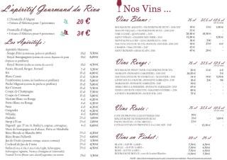 Carte des boissons du restaurant Le Riva en Bourgogne - 2