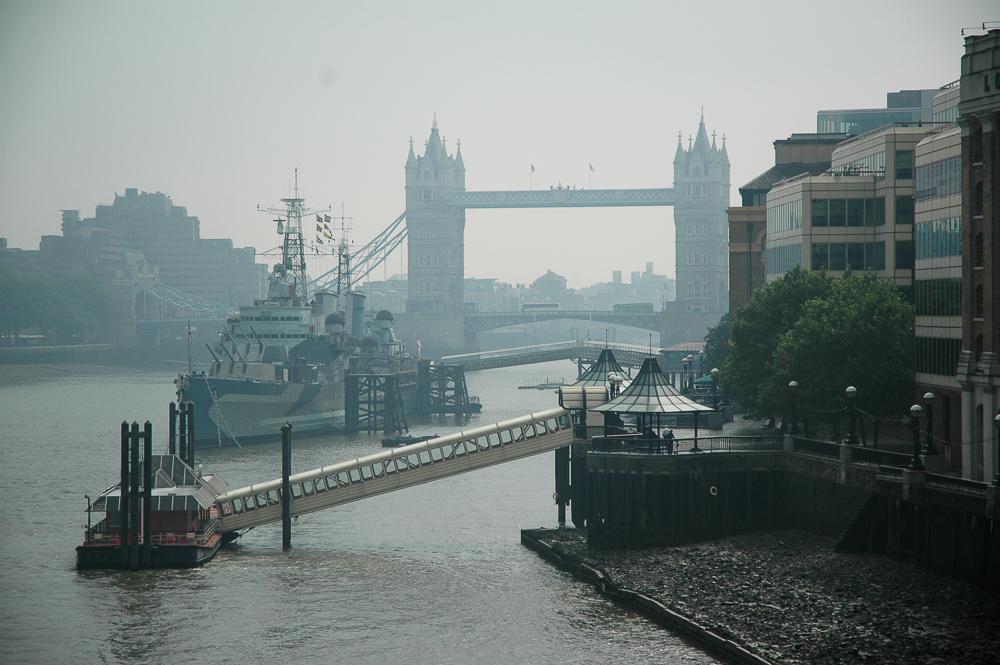 London Fog Tower Bridge Ships In Dock