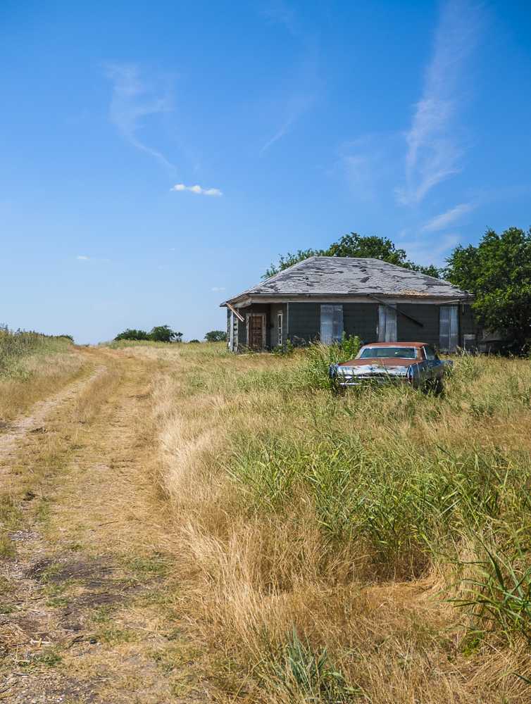 Field, House, Posted Keep Out, Rusted Car