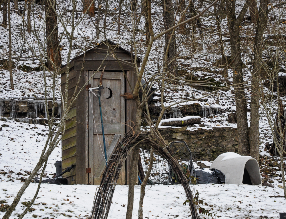 Outhouse Moon Door Snow Eureka Springs Arkansas