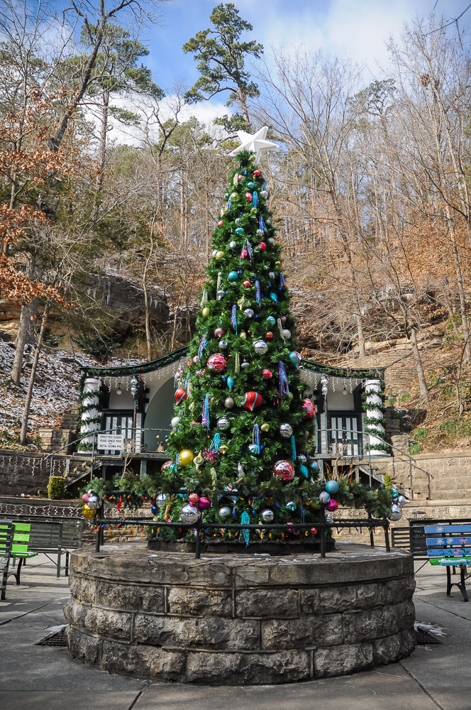 Christmas tree in the town square Eureka Springs