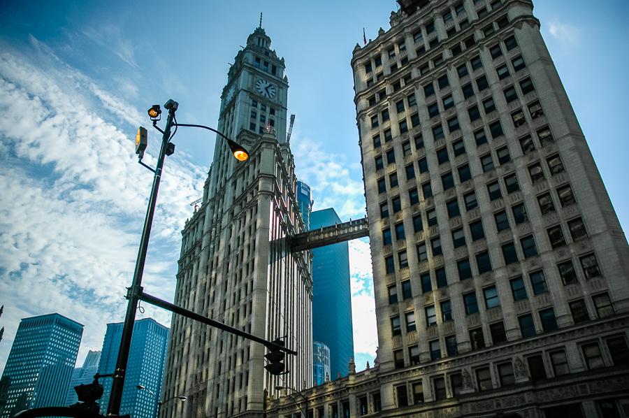 Wrigley Building Chicago Lights Sky