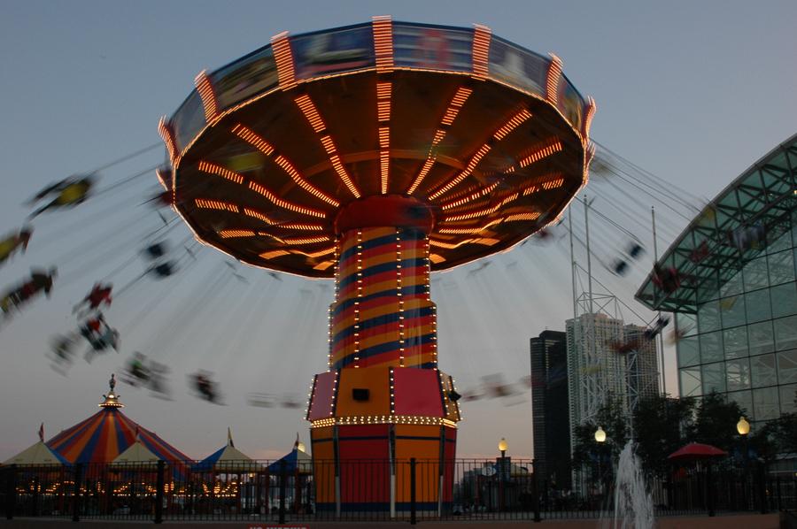 Chicago, Carnival Swings, Lights, Boardwalk