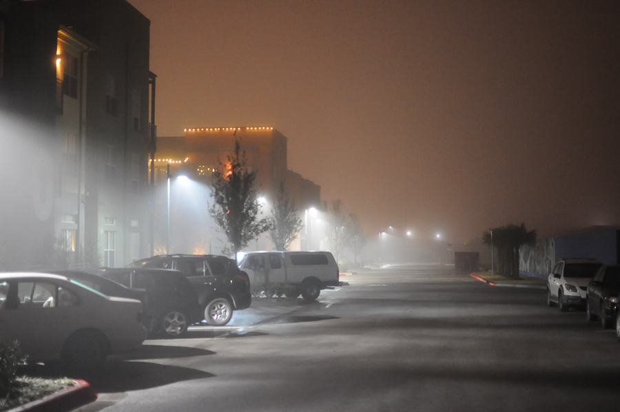 Urban Fog Parking Lot Austin Texas