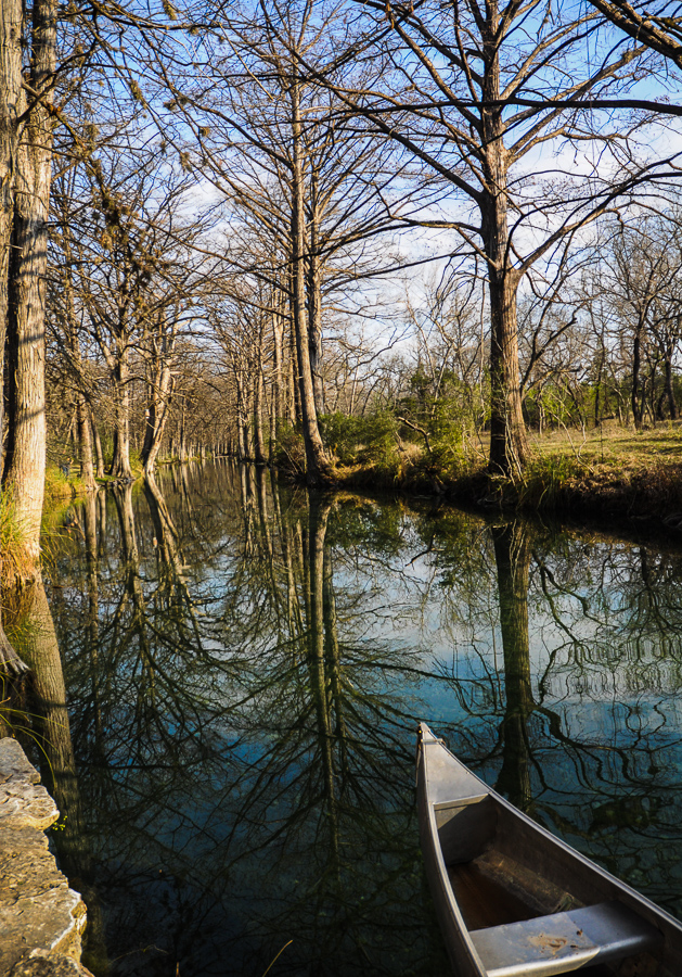 Creek, Canoe Wimberly, Texas, Reflections In The Stream