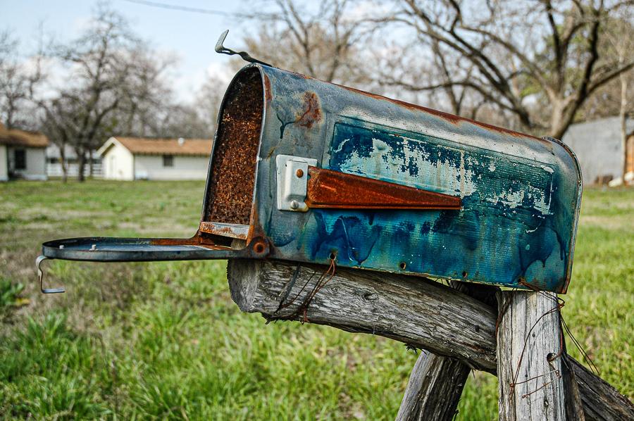 Roadside Relics - Blue Mailbox, Homemade, Texas