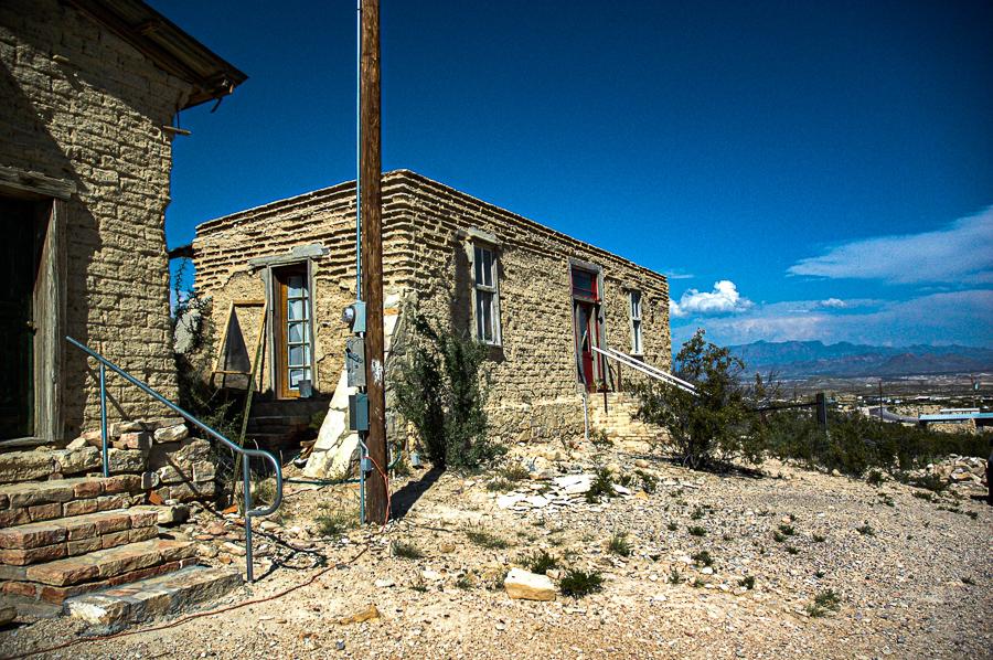 Abandoned Building - Terlingua Brick Mountains Distant