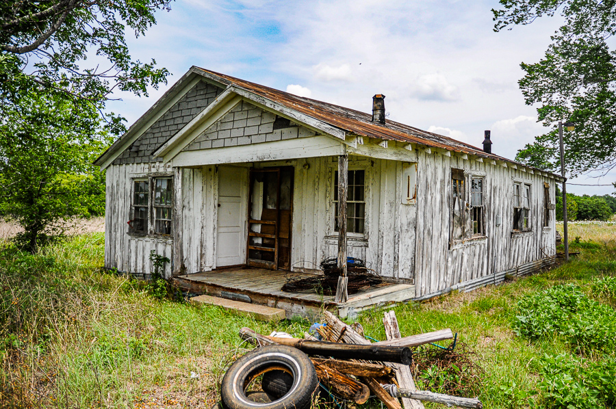 Abandoned Building - House White, Tires & Wood