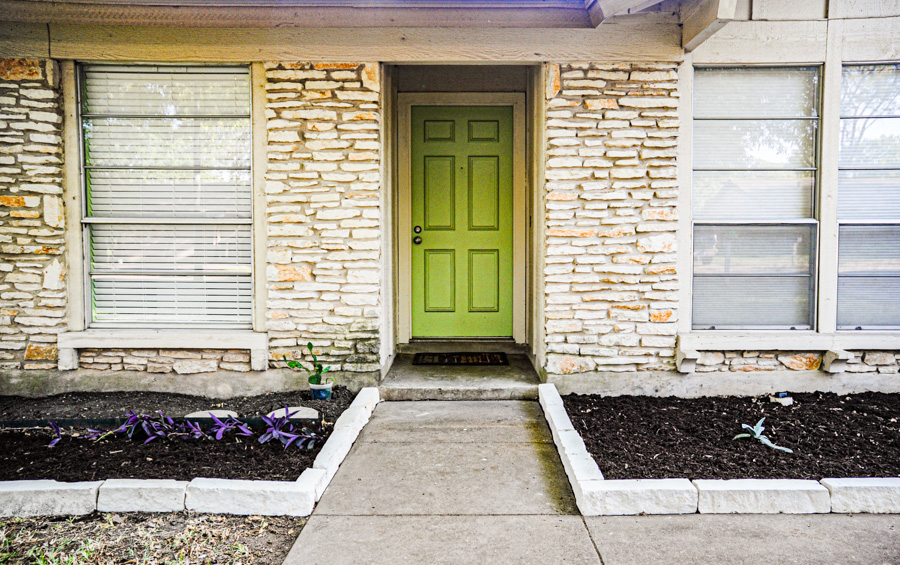 Front Door, Mint Green, Limestone Landscaping