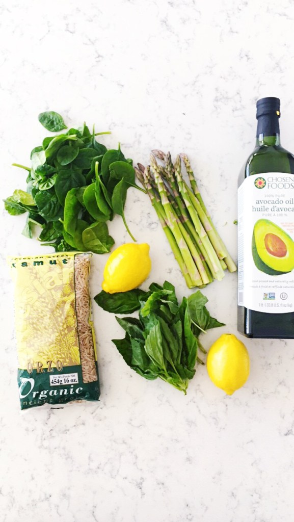 The ingredients you needs to make an orzo asparagus salad