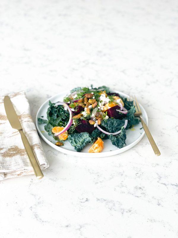 Yummy Kale Salad Recipe, Modern Ukrainian Salad with beets, mandarins and  dill