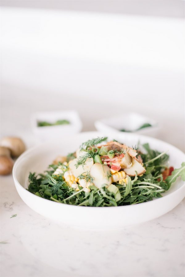 Easy warm potato salad with bacon