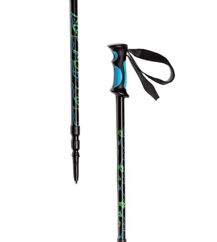 Two Trekker Sunrise Compass Equipped Anti-Shock Telescoping Collapsible Hiking Poles for for Backpacking Trekking Walking or Trail Hikes 1 Pair