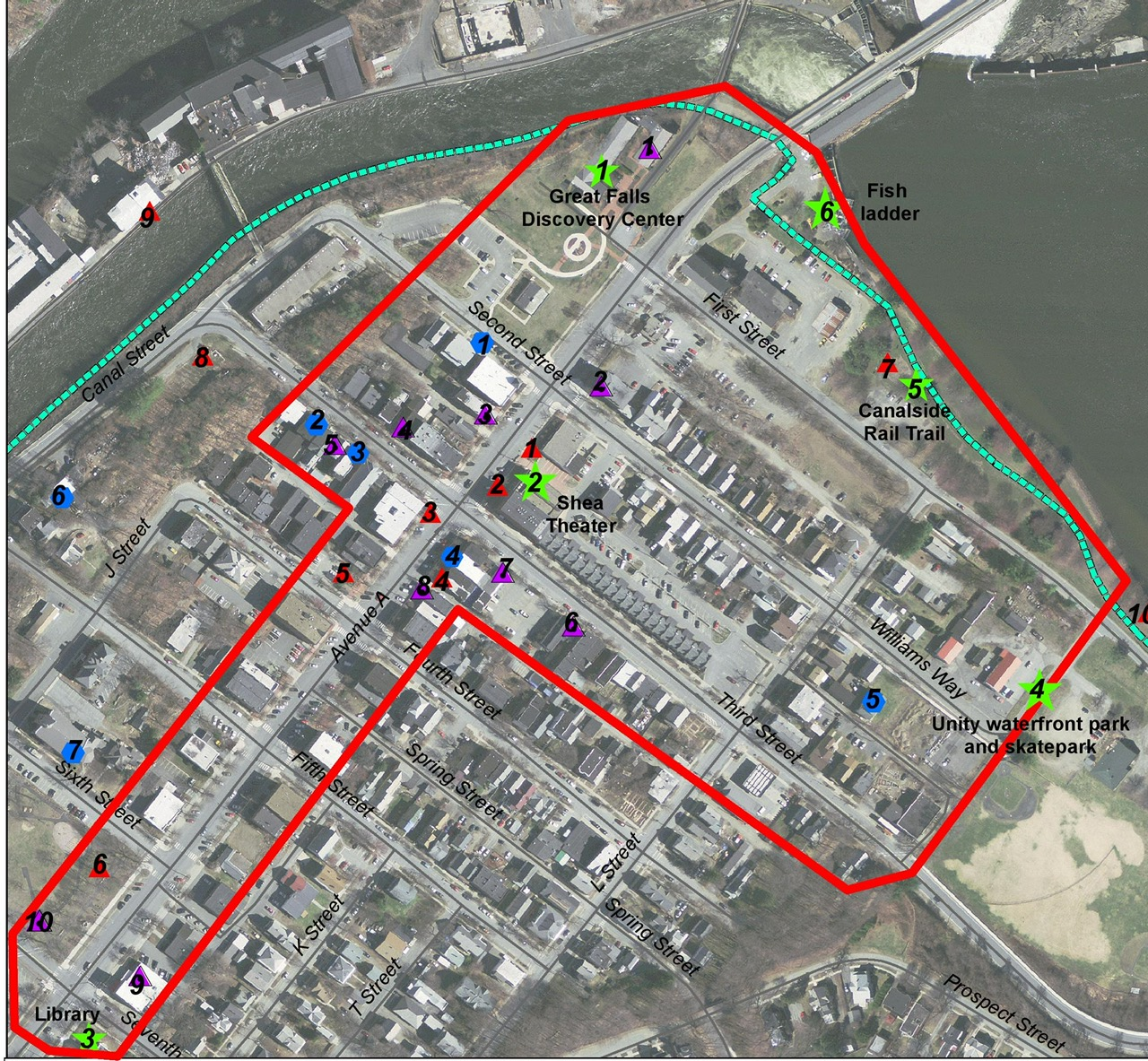 Map of the Turners Falls Cultural District location