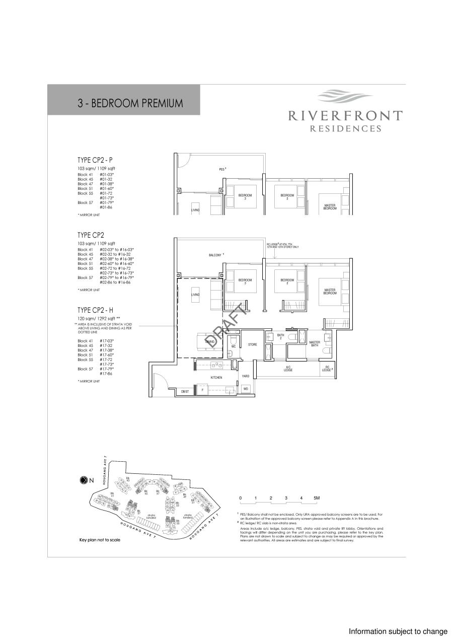 Riverfront Residences 3 Bedroom Premium Floor Plans Type CP2-P, CP2, CP2-H