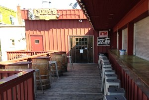 The empty deck and shuttered bar at Cody's BBQ & Grill today. (Photo: Peter Blasl)
