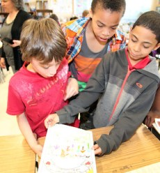 Tim Bowe, Krishmar Powell and Elias Lugo discovered that they were featured in classmate Jackie Carranza's comic book.
