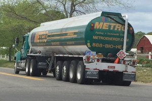 A 20-wheel Metro fuel truck on Sound Avenue. Courtesy photo: Neil Krupnick