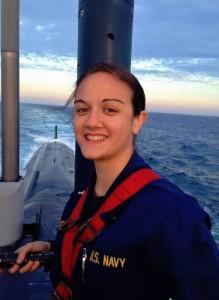 Amanda Gallo aboard the USS Virginia submarine in May, where she did a summer training tour. Courtesy photo.